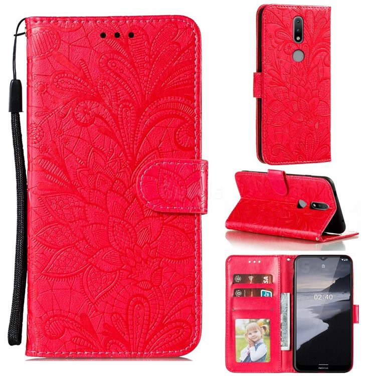 Intricate Embossing Lace Jasmine Flower Leather Wallet Case for Nokia 2.4 - Red