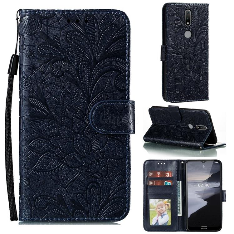 Intricate Embossing Lace Jasmine Flower Leather Wallet Case for Nokia 2.4 - Dark Blue