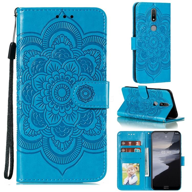 Intricate Embossing Datura Solar Leather Wallet Case for Nokia 2.4 - Blue