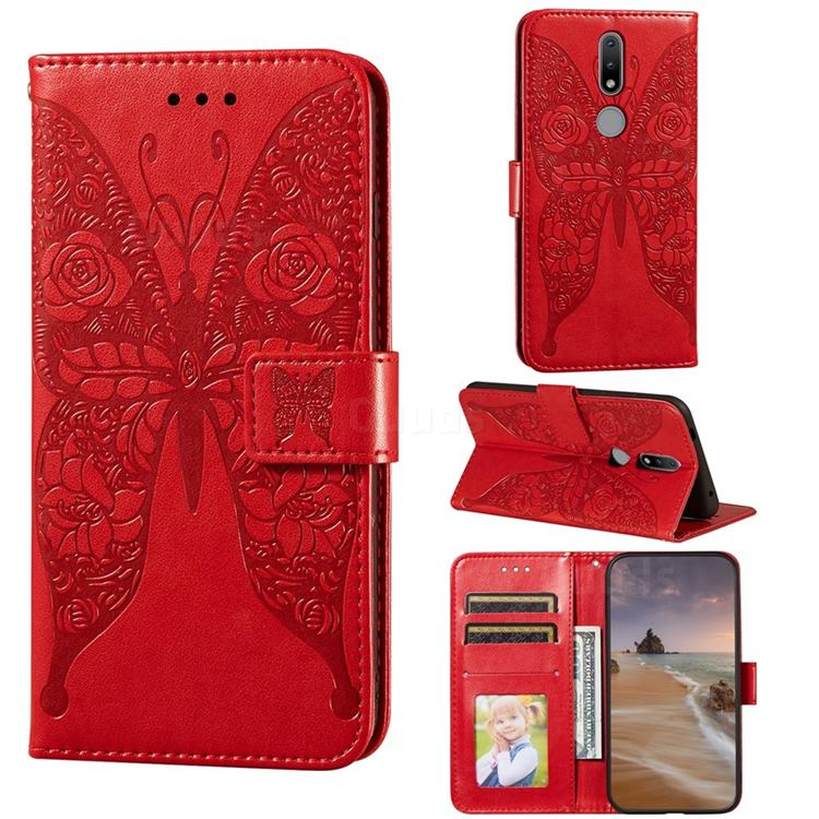 Intricate Embossing Rose Flower Butterfly Leather Wallet Case for Nokia 2.4 - Red