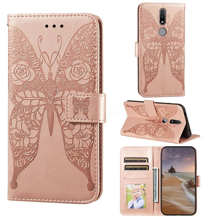 Intricate Embossing Rose Flower Butterfly Leather Wallet Case for Nokia 2.4 - Rose Gold