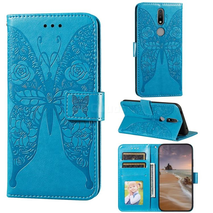 Intricate Embossing Rose Flower Butterfly Leather Wallet Case for Nokia 2.4 - Blue