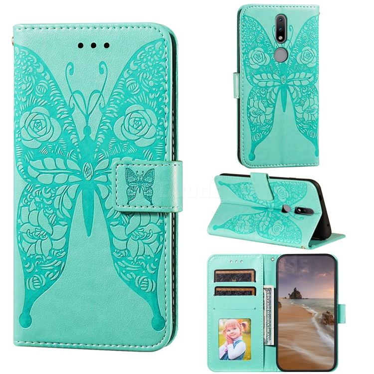 Intricate Embossing Rose Flower Butterfly Leather Wallet Case for Nokia 2.4 - Green