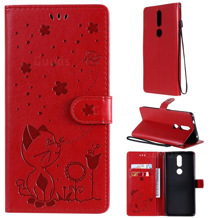 Embossing Bee and Cat Leather Wallet Case for Nokia 2.4 - Red