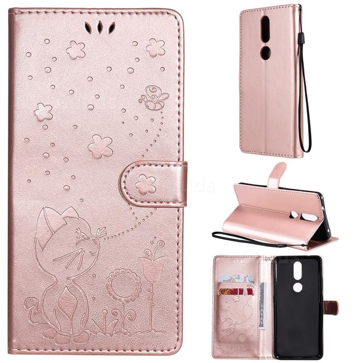 Embossing Bee and Cat Leather Wallet Case for Nokia 2.4 - Rose Gold
