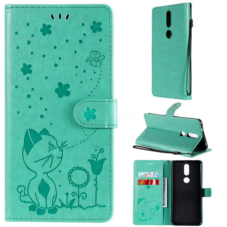 Embossing Bee and Cat Leather Wallet Case for Nokia 2.4 - Green
