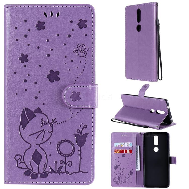 Embossing Bee and Cat Leather Wallet Case for Nokia 2.4 - Purple