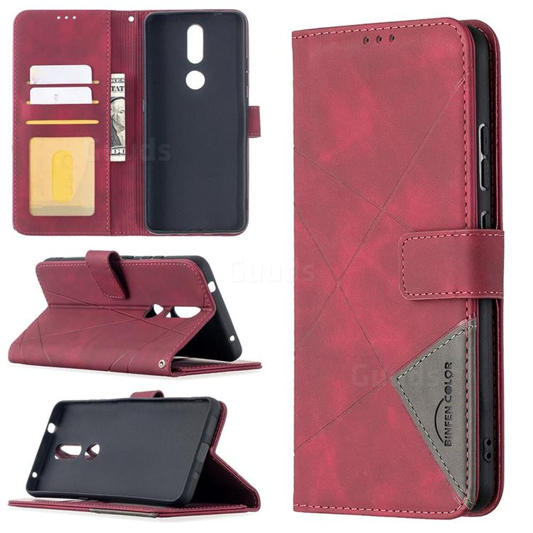 Binfen Color BF05 Prismatic Slim Wallet Flip Cover for Nokia 2.4 - Red