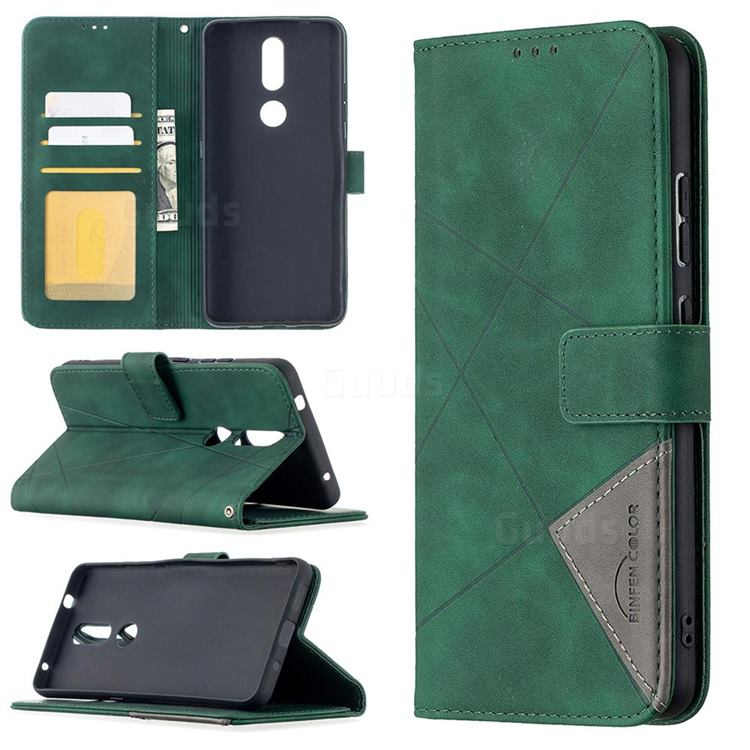 Binfen Color BF05 Prismatic Slim Wallet Flip Cover for Nokia 2.4 - Green