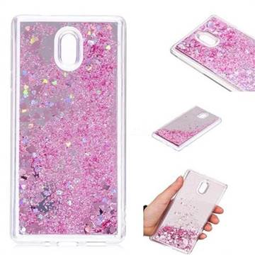 Glitter Sand Mirror Quicksand Dynamic Liquid Star TPU Case for Nokia 3 Nokia3 - Cherry Pink