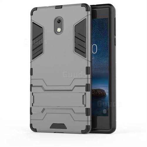 quality design 4b0fc 3ad1c Armor Premium Tactical Grip Kickstand Shockproof Dual Layer Rugged Hard  Cover for Nokia 3 Nokia3 - Gray
