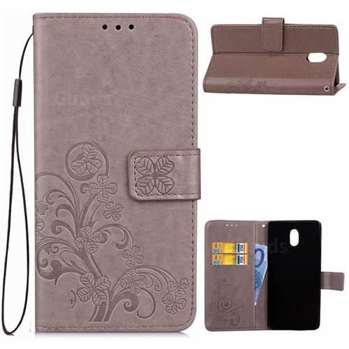 Embossing Imprint Four-Leaf Clover Leather Wallet Case for Nokia 3 Nokia3 - Grey