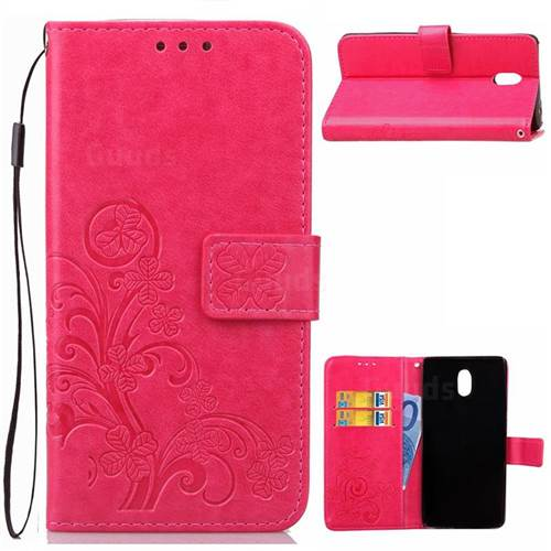 Embossing Imprint Four-Leaf Clover Leather Wallet Case for Nokia 3 Nokia3 - Rose