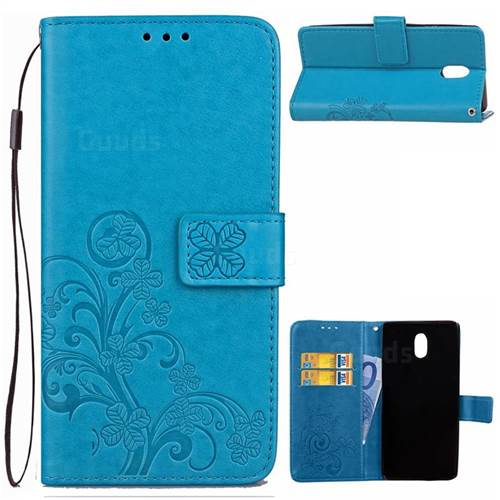 Embossing Imprint Four-Leaf Clover Leather Wallet Case for Nokia 3 Nokia3 - Blue