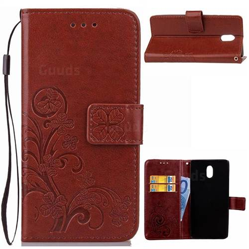 Embossing Imprint Four-Leaf Clover Leather Wallet Case for Nokia 3 Nokia3 - Brown