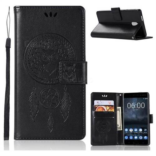 Intricate Embossing Owl Campanula Leather Wallet Case for Nokia 3 Nokia3 - Black