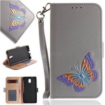 Imprint Embossing Butterfly Leather Wallet Case for Nokia 3 Nokia3 - Grey