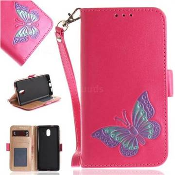 Imprint Embossing Butterfly Leather Wallet Case for Nokia 3 Nokia3 - Rose Red