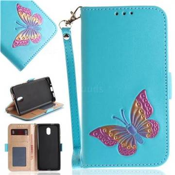 Imprint Embossing Butterfly Leather Wallet Case for Nokia 3 Nokia3 - Sky Blue