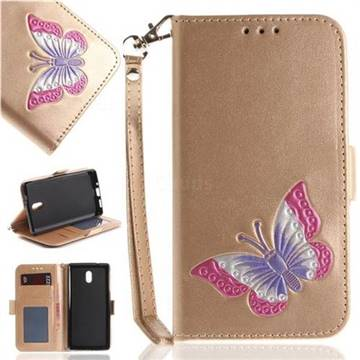 Imprint Embossing Butterfly Leather Wallet Case for Nokia 3 Nokia3 - Golden