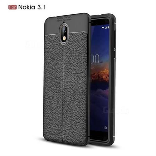 Luxury Auto Focus Litchi Texture Silicone TPU Back Cover for Nokia 3.1 - Black