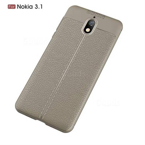 wholesale dealer 33078 245fc Luxury Auto Focus Litchi Texture Silicone TPU Back Cover for Nokia 3.1 -  Gray
