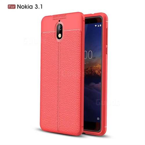 hot sale online 5f1fb 60a0b Luxury Auto Focus Litchi Texture Silicone TPU Back Cover for Nokia 3.1 - Red