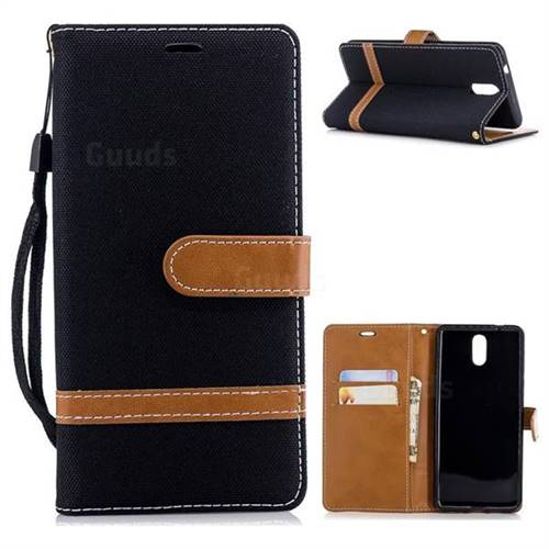 Jeans Cowboy Denim Leather Wallet Case for Nokia 3.1 - Black