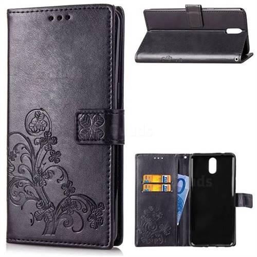Embossing Imprint Four-Leaf Clover Leather Wallet Case for Nokia 3.1 - Black