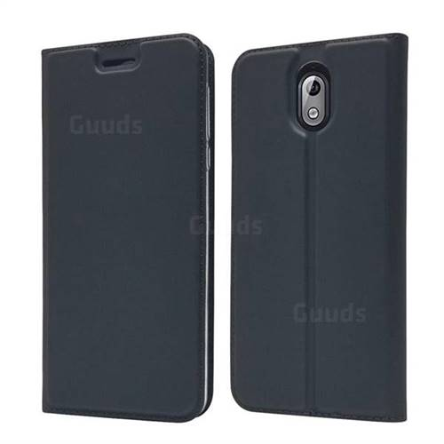 Ultra Slim Card Magnetic Automatic Suction Leather Wallet Case for Nokia 3.1 - Star Grey