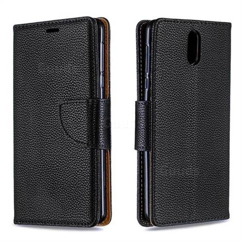 Classic Luxury Litchi Leather Phone Wallet Case for Nokia 3.1 - Black