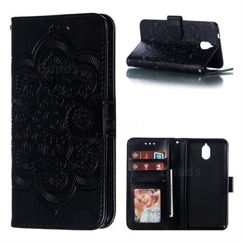 Intricate Embossing Datura Solar Leather Wallet Case for Nokia 3.1 - Black