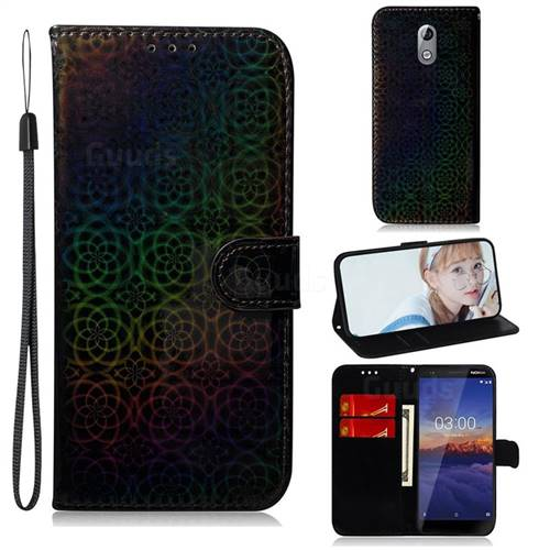 Laser Circle Shining Leather Wallet Phone Case for Nokia 3.1 - Black