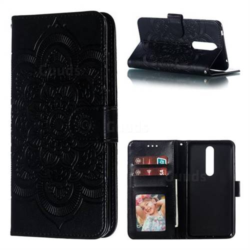 Intricate Embossing Datura Solar Leather Wallet Case for Nokia 3.1 Plus - Black