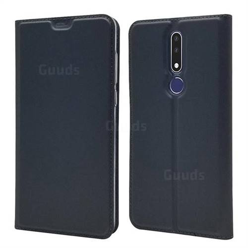 Ultra Slim Card Magnetic Automatic Suction Leather Wallet Case for Nokia 3.1 Plus - Star Grey