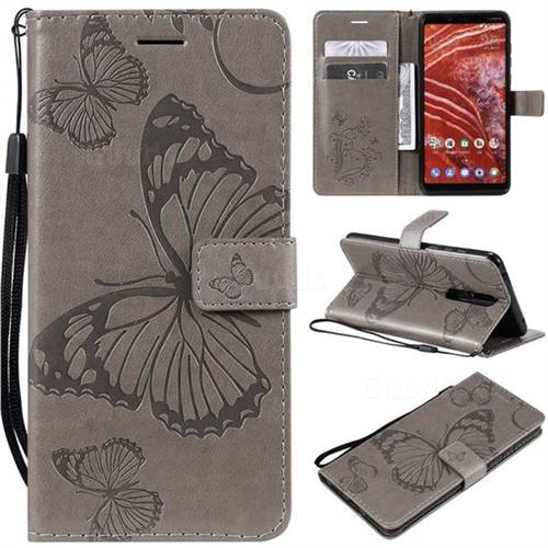 Embossing 3D Butterfly Leather Wallet Case for Nokia 3.1 Plus - Gray