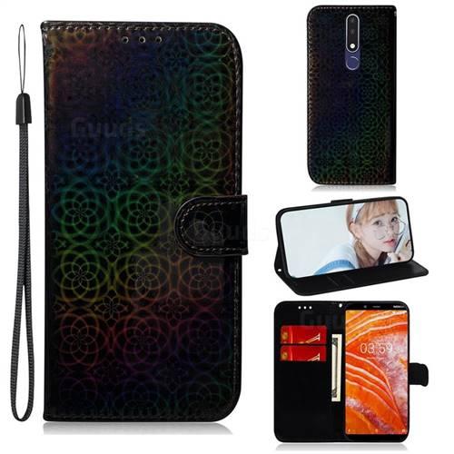 Laser Circle Shining Leather Wallet Phone Case for Nokia 3.1 Plus - Black