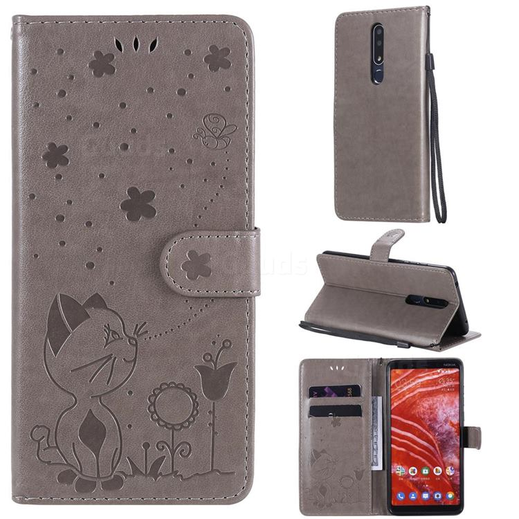 Embossing Bee and Cat Leather Wallet Case for Nokia 3.1 Plus - Gray