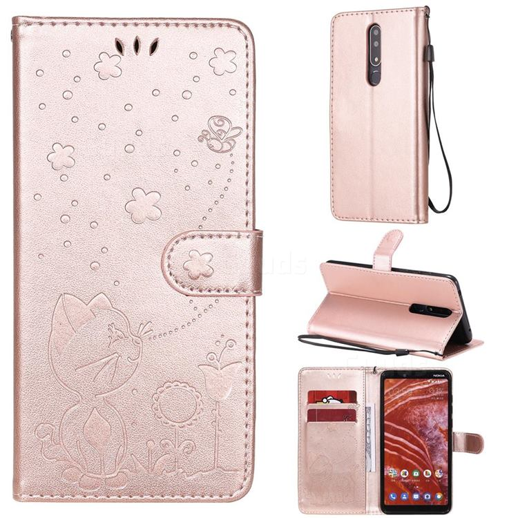 Embossing Bee and Cat Leather Wallet Case for Nokia 3.1 Plus - Rose Gold