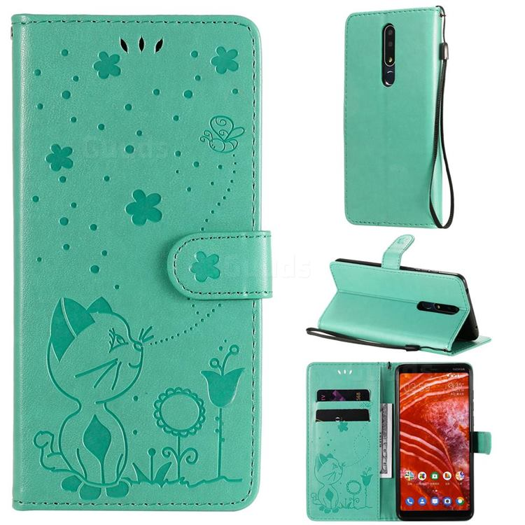 Embossing Bee and Cat Leather Wallet Case for Nokia 3.1 Plus - Green