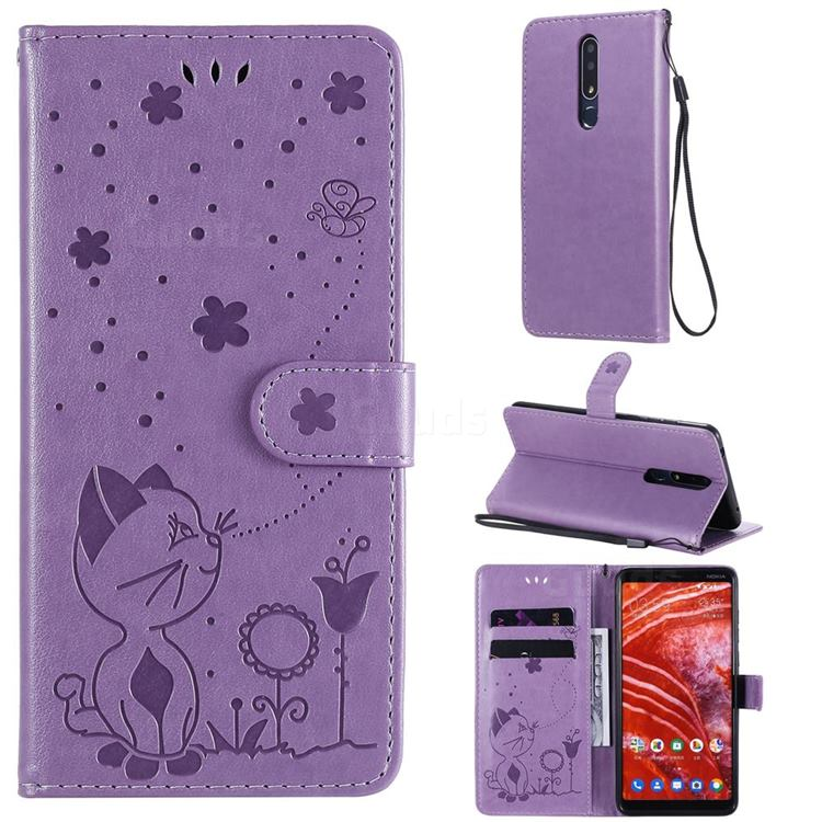 Embossing Bee and Cat Leather Wallet Case for Nokia 3.1 Plus - Purple