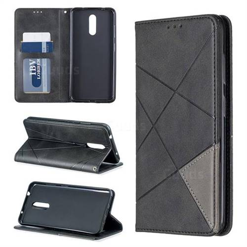 Prismatic Slim Magnetic Sucking Stitching Wallet Flip Cover for Nokia 3.2 - Black