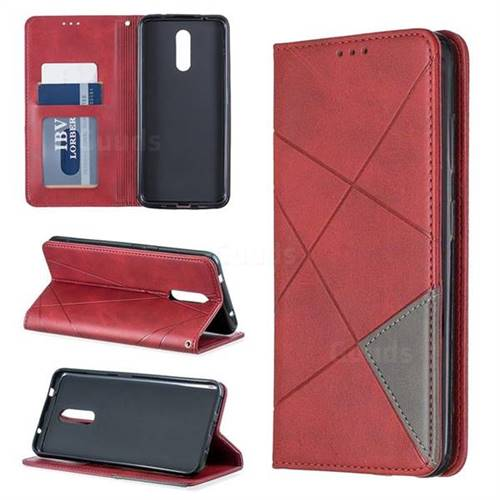Prismatic Slim Magnetic Sucking Stitching Wallet Flip Cover for Nokia 3.2 - Red
