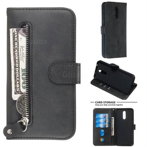 best sneakers 516b7 f2c75 Retro Luxury Zipper Leather Phone Wallet Case for Nokia 3.2 - Black - Nokia  3.2 Cases - Guuds