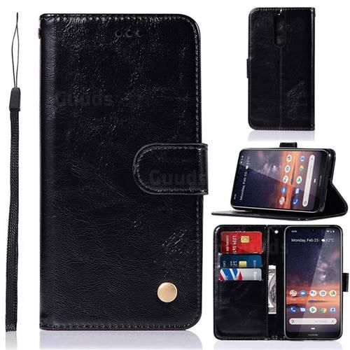 Luxury Retro Leather Wallet Case for Nokia 3.2 - Black
