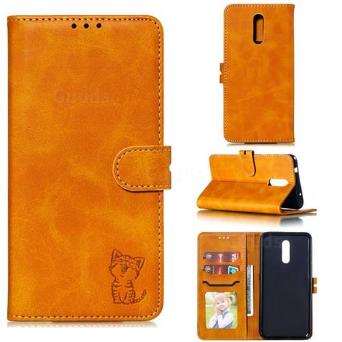Embossing Happy Cat Leather Wallet Case for Nokia 3.2 - Yellow