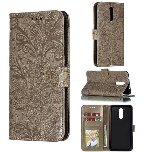 Intricate Embossing Lace Jasmine Flower Leather Wallet Case for Nokia 3.2 - Gray