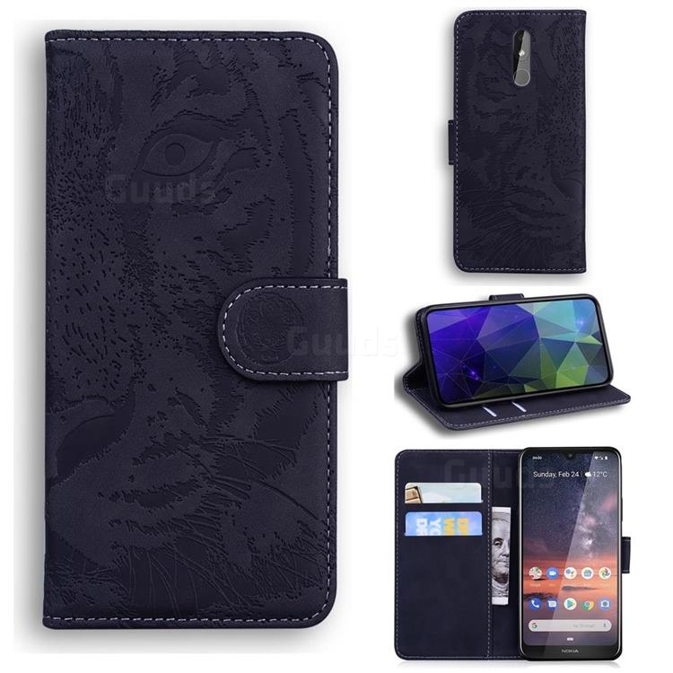 Intricate Embossing Tiger Face Leather Wallet Case for Nokia 3.2 - Black