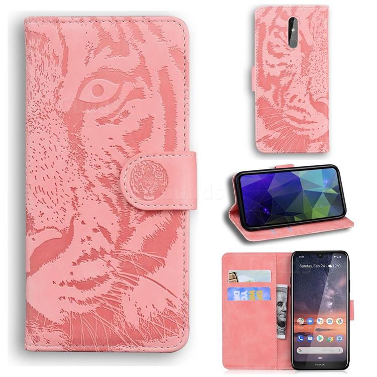 Intricate Embossing Tiger Face Leather Wallet Case for Nokia 3.2 - Pink