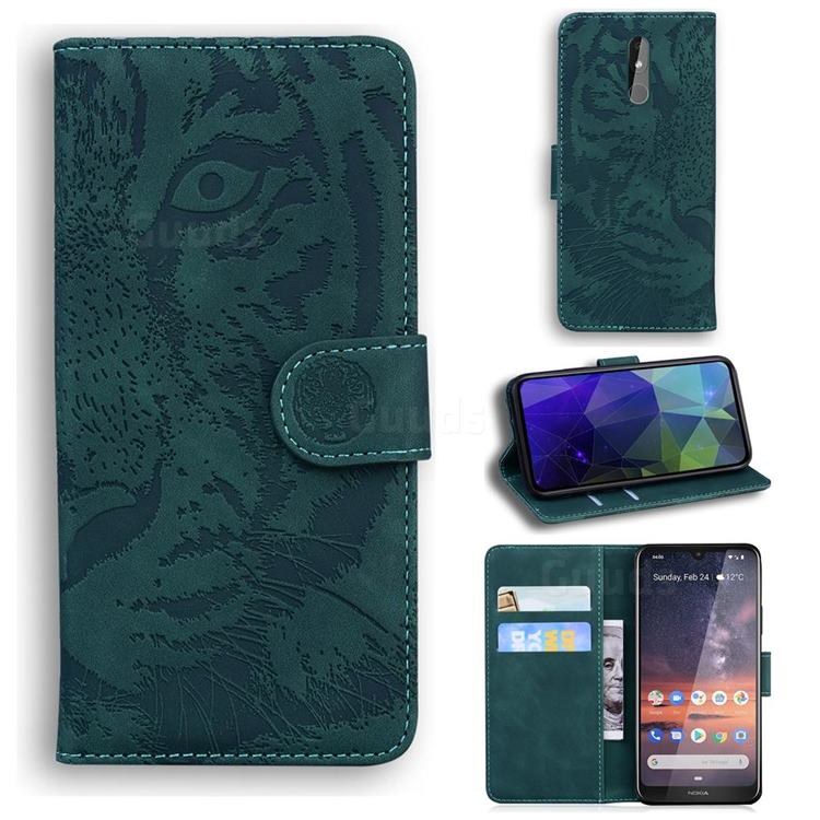 Intricate Embossing Tiger Face Leather Wallet Case for Nokia 3.2 - Green